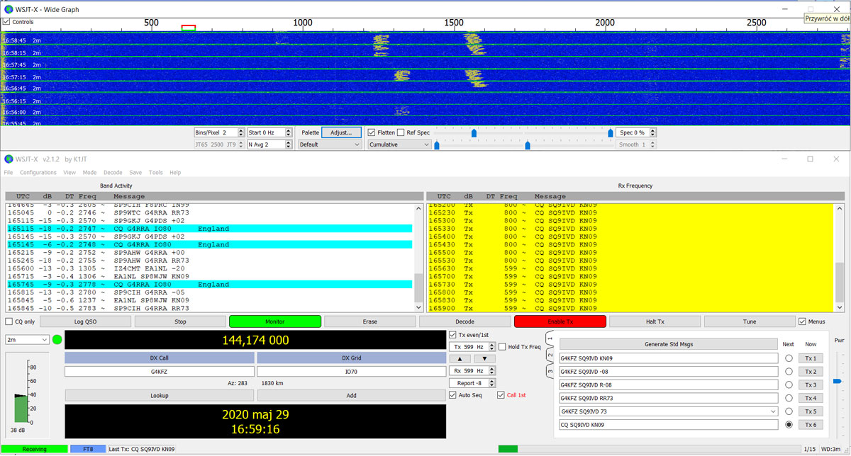FT8 - Doskonałe warunki propagacyjne na VHF