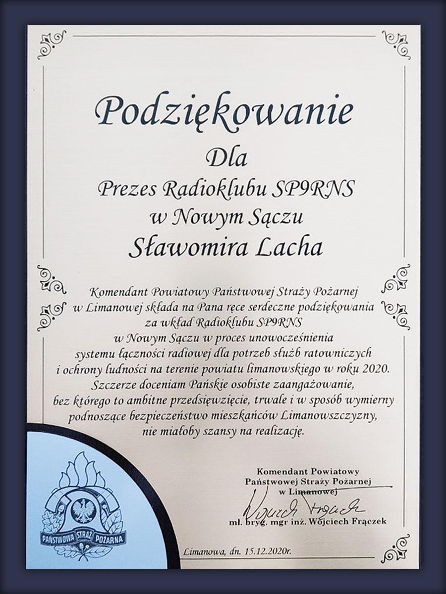 Komenda Powiatowej państwowej Straży Pożarnej w Limanowej - podziękowania