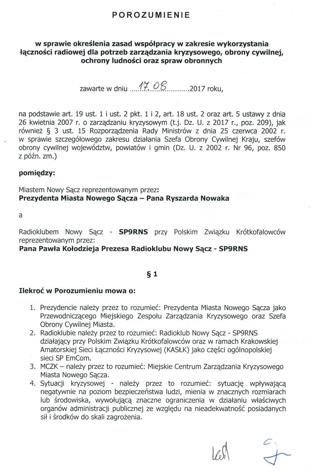 Urząd Miasta Nowego Sącza zawarł porozumienie z Radioklubem SP9RNS